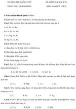 Đề kiểm tra học kì I lớp 9 môn Hóa học - Trường THCS Đồng Phú, Quảng Bình đề kiểm tra môn hóa