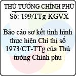 Công văn 199/2013/TTg-KGVX báo cáo sơ kết tình hình thực hiện đẩy mạnh việc học tập và làm theo tấm gương đạo đức hồ chí minh tại chỉ thị 1973/ct-ttg