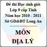 Đề thi học sinh giỏi tỉnh Long An lớp 9 năm 2011 môn Địa lí sở gd&đt long an