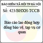 Công văn 423/BHXH-TCCB về báo cáo lao động hợp đồng bảo vệ, tạp vụ cơ quan do bảo hiểm xã hội thành phố hà nội ban hành