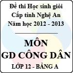 Đề thi học sinh giỏi tỉnh Nghệ An năm 2012 - 2013 môn Giáo dục công dân lớp 12 Bảng A (Có đáp án) đề thi học sinh giỏi