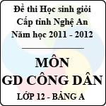 Đề thi học sinh giỏi tỉnh Nghệ An năm 2011 - 2012 môn Giáo dục công dân lớp 12 Bảng A (Có đáp án) đề thi học sinh giỏi