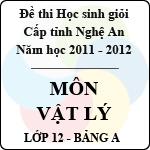 Đề thi học sinh giỏi tỉnh Nghệ An năm 2011 - 2012 môn Vật lý lớp 12 Bảng A đề thi môn vật lý
