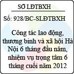 Báo cáo 928/BC-SLĐTBXH về công tác lao động, thương binh và xã hội hà nội 6 tháng đầu năm, nhiệm vụ trọng tâm 6 tháng cuối năm 2012