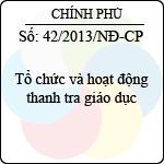 Nghị định 42/2013/NĐ-CP tổ chức và hoạt động thanh tra giáo dục