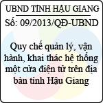 Quyết định 09/2013/QĐ-UBND tỉnh Hậu Giang quy chế quản lý, vận hành, khai thác hệ thống một cửa điện tử trên địa bàn tỉnh hậu giang