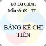 Mẫu bảng kê chi tiền mẫu số: 09-tt - ban hành theo quyết định số: 48/2006/qđ-btc ngày 14/9/2006 của bộ trưởng bộ tài chính