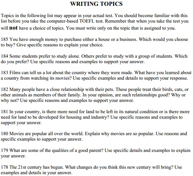 TOEFL Writing Topics,Essay Practise