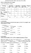 Đề kiểm tra học kì II lớp 6 môn tiếng Anh - Đề số 1