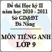 Đề kiểm tra học kì I môn Tiếng Anh lớp 9 năm học 2010 - 2011 (Sở GD và ĐT Đà Nẵng)