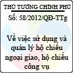 Quyết định 58/2012/QĐ-TTg