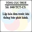 Công văn 649/TCT-CS