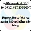 Thông tư 16/2013/TT-BNNPTNT