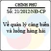 Nghị định số 21/2012/NĐ-CP