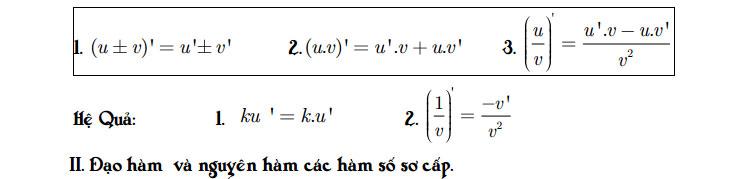 Bảng công thức Tích phân - Đạo hàm - Mũ - Logarit