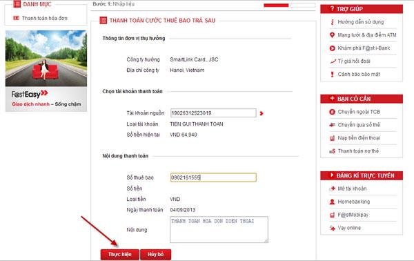 Hướng dẫn sử dụng dịch vụ thanh toán hoá đơn cho khách hàng Techcombank