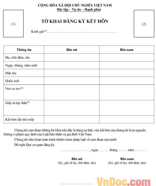 Tờ khai đăng ký kết hôn