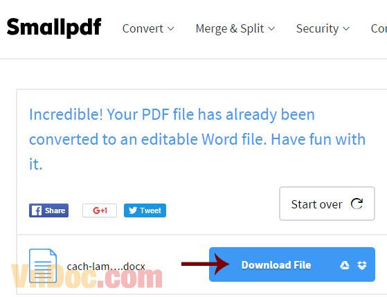Cách chuyển đổi PDF sang Word online miễn phí