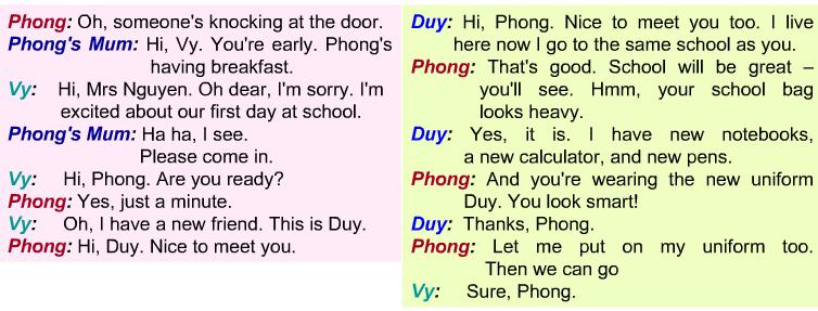 Bài tập Tiếng Anh lớp 6 Unit 1: My New School - Getting Started câu 2