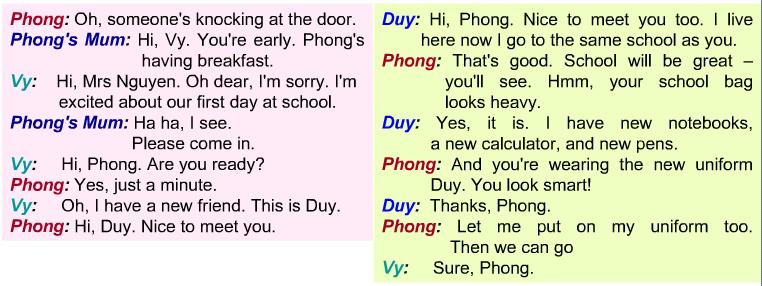 Câu hỏi bài tập tiếng Anh lớp 6 chương trình mới phần Getting Started câu 4