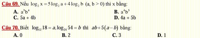 Câu hỏi trắc nghiệm môn Toán lớp 12: Hàm số lôgarit