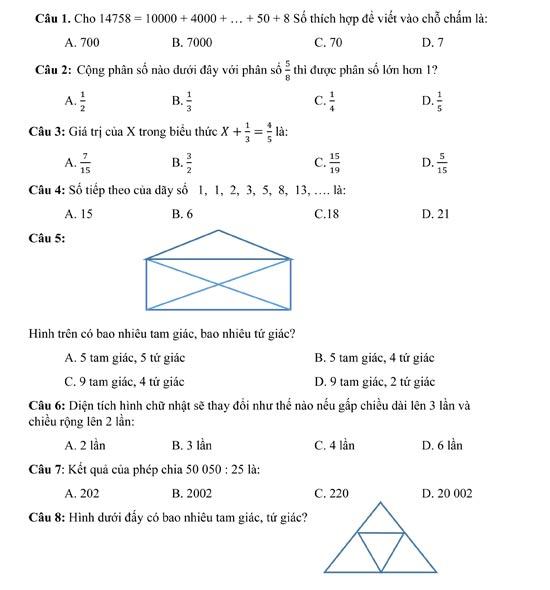 Câu hỏi trắc nghiệm môn Toán lớp 4