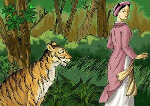Văn mẫu lớp 6: Trong vai bà đỡ Trần, kể lại câu chuyện Con hổ có nghĩa