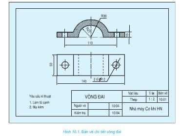 Giải bài tập SGK Công nghệ lớp 8 bài 10: Bài tập thực hành: Đọc bản vẽ chi tiết đơn giản có hình cắt