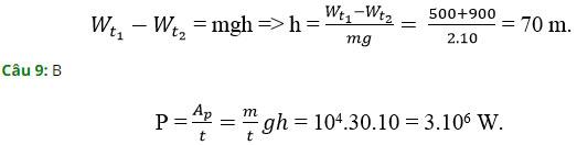 Trắc nghiệm Vật lý 10 chương 4: Thế năng