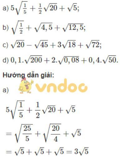 Toán lớp 9 bài 8: Rút gọn biểu thức chứa căn thức bậc hai