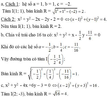 Giải bài tập Hình học 10 bài 2: Phương trình đường tròn