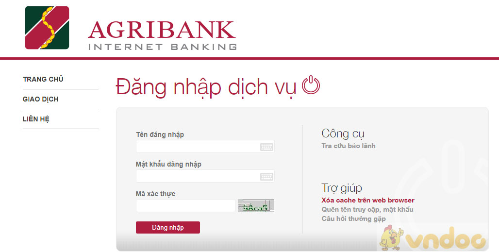 Dịch vụ internet banking của agribank