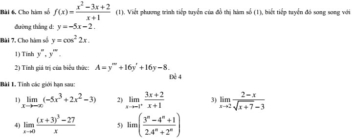 20 bộ đề thi học kì 2 môn Toán lớp 11 có đáp án