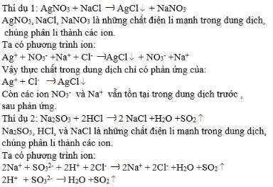 Phản ứng trao đổi ion trong dung dịch các chất điện li
