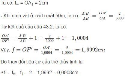 Giải bài tập SBT Vật lý lớp 9 bài 48: Mắt