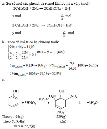 Giải bài tập Hóa học 11:Phenol