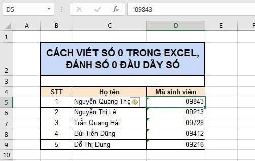 Cách viết số 0 trong Excel