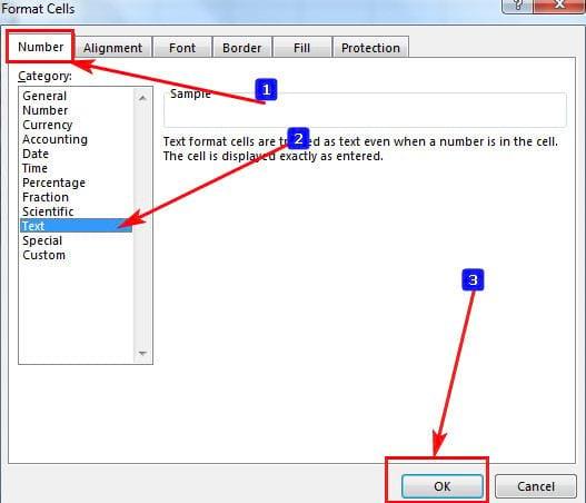 Cách viết số 0 đầu dãy số trong Excel