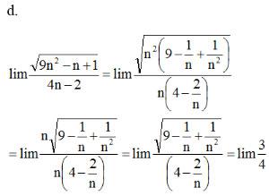 Giải bài tập Toán 11 Giới hạn của dãy số