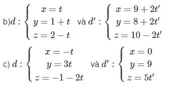 Giải SBT Toán 12 bài 3: Phương trình đường thẳng