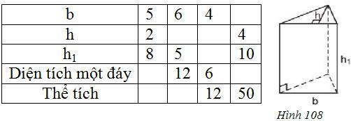 Giải bài tập SGK Toán lớp 8 bài 6: Thể tích của hình lăng trụ đứng