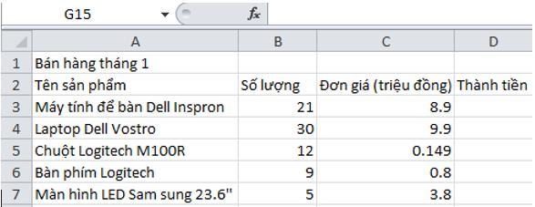 Giải bài tập SGK Tin học 7 bài 5: Thao tác với bảng tính