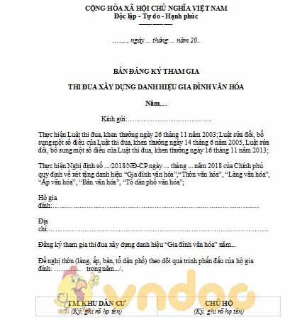 đơn đăng ký danh hiệu gia đình văn hóa