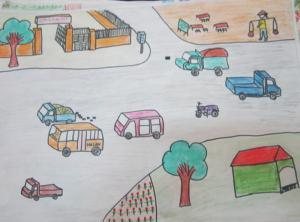 Vẽ tranh đề tài an toàn giao thông lớp 7