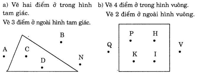 Giải Vở Bài Tập Toán 1 bài 95: Điểm ở trong, điểm ở ngoài một hình