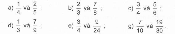 Quy đồng mẫu các phân số