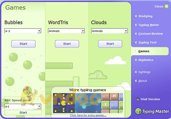 Các trò chơi trong typingmaster