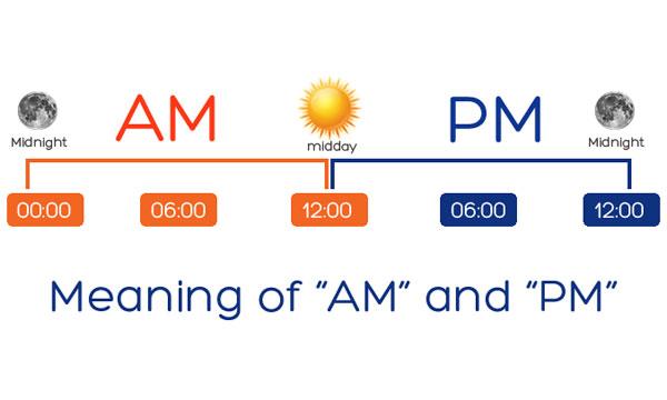 12 giờ trưa là AM hay PM trong tiếng Anh