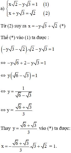 Giải bài tập SGK Toán lớp 9 bài 3: Giải hệ phương trình bằng phương pháp thế