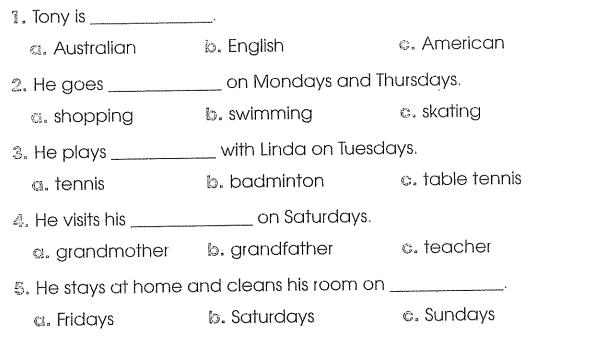 Bài tập cuối tuần môn Tiếng Anh lớp 4 Tuần 4